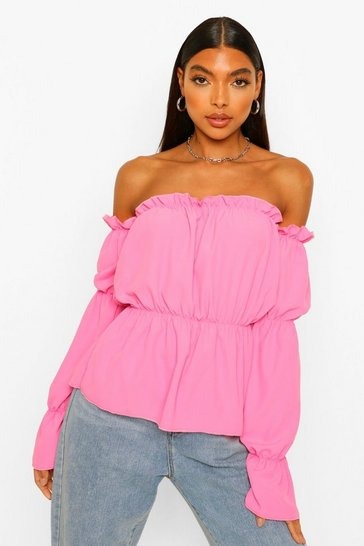 Pink Tall Bardot Volume Sleeve Top