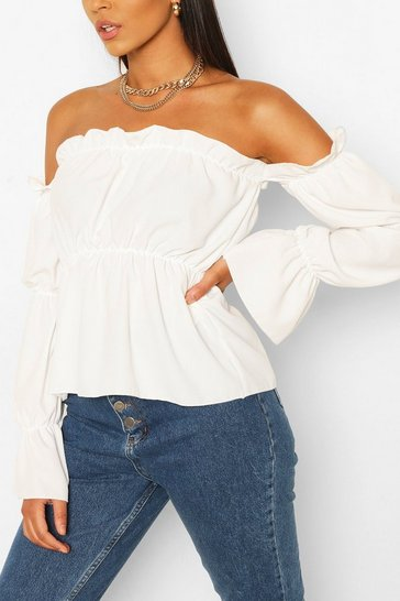 White Tall Bardot Volume Sleeve Top