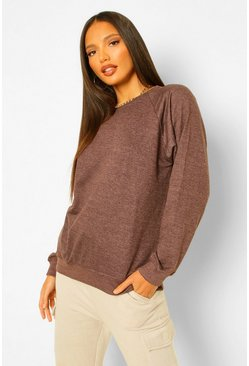 Sweat coupe oversize à manches ballon Tall, Chocolate marron