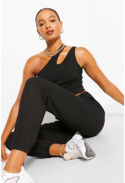 Black Tall Casual Rib Joggers