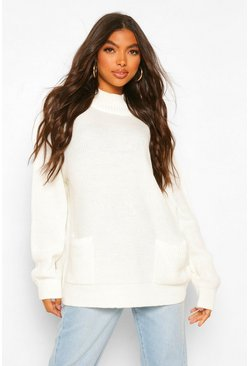 Ivory white Tall Pocket Detail Jumper