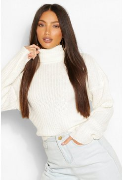 Ivory white Tall Turtleneck Crop Sweater