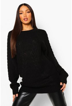 Black Tall Chunky Oversized Jumper