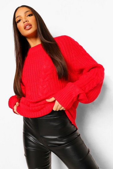 Red Tall Chunky Oversized Jumper