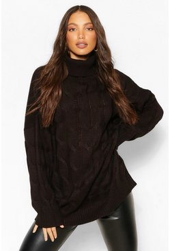 Black Tall Cable Roll Neck Oversized Jumper