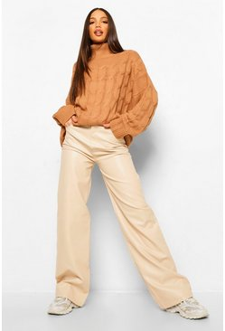Tan brown Tall Cable Turtleneck Oversized Sweater