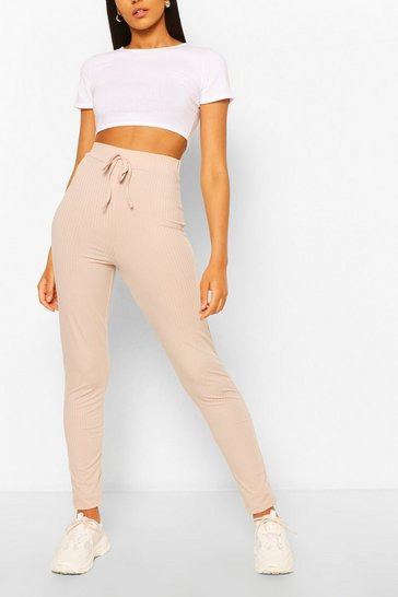 Stone beige Tall High Waist Rib Leggings