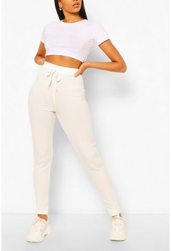 White Tall High Waist Rib Leggings