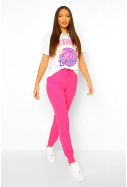 Hot pink Tall Rib High Waist Joggers