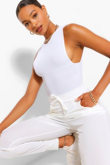 White Tall Rib High Waist Joggers