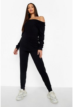 Black Tall Light Weight Knit Slash Neck Lounge Set