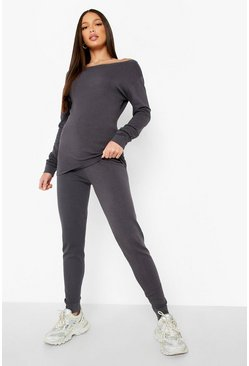 Charcoal grey Tall Light Weight Knit Slash Neck Lounge Set