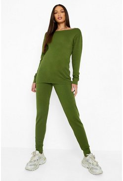 Khaki Tall Light Weight Knit Slash Neck Lounge Set
