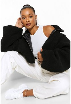 Black Tall Teddy Faux Fur Oversized Bomber Jacket