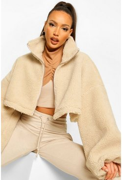 Stone beige Tall Teddy Faux Fur Oversized Bomber Jacket