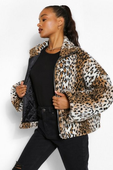 Tall Leopard Teddy Faux Fur Bomber Jacket
