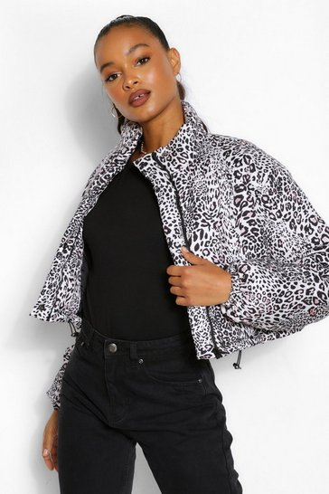 Tall Leopard Print Crop Puffer Jacket