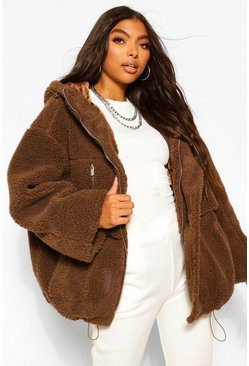 Chocolate brown Tall Oversized Teddy Faux Fur Coat