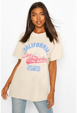 Beige Tall 'California' Oversized T-Shirt
