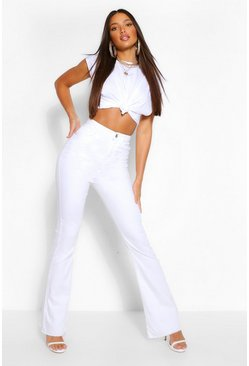 Tall White Denim Flared Jeans