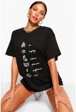Black Tall Crystal Graphic T-Shirt