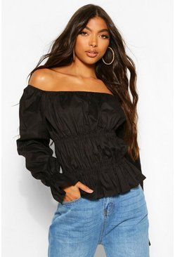 Black Tall Bardot Ruched Flare Sleeve Top