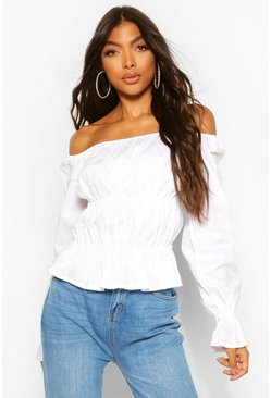 White Tall Bardot Ruched Flare Sleeve Top