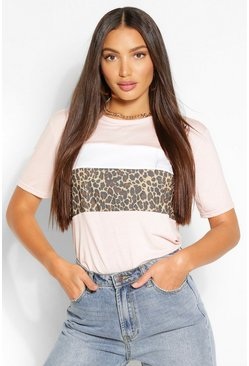 Pink Tall Leopard Colour Block T-Shirt