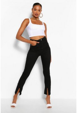 Black Tall Denim Split Front Skinny Flare Jeans