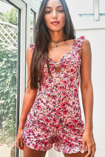 Pink Tall Floral Print Ruffle Strap Playsuit