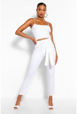 Ivory white Tall Woven Tie Waist Slim Trouser