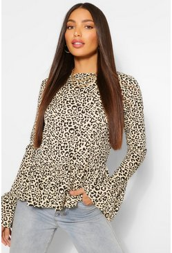 Brown Tall Leopard Print Long Sleeve Top
