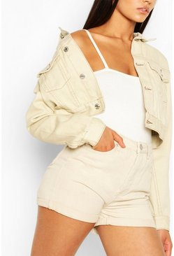 Ecru white Tall High Waist Denim Shorts