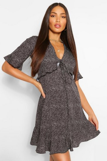Black Tall Woven Spot Print Ruffle Front Tea Dress