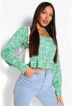 Green Tall Woven Floral Button Front Top