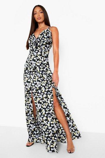 Black Tall Pansy Ruffle Split Maxi Dress