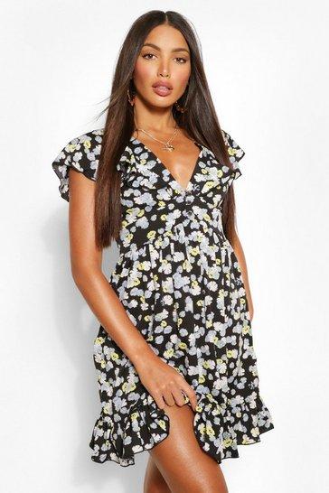 Black Tall Pansy Button Through Tea Dress