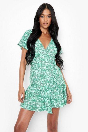 Green Tall Woven Floral Print Wrap Tea Dress