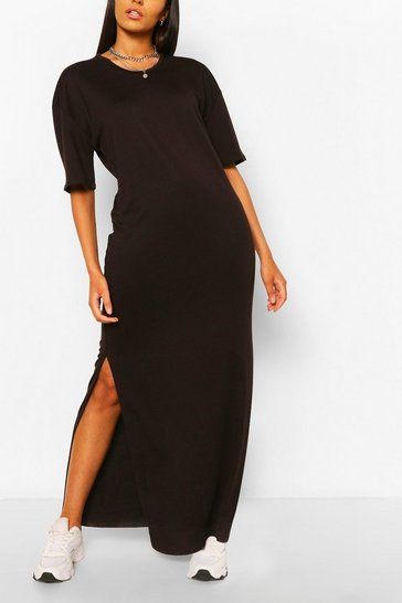 Black Tall Scoop Neck Maxi T-Shirt Dress