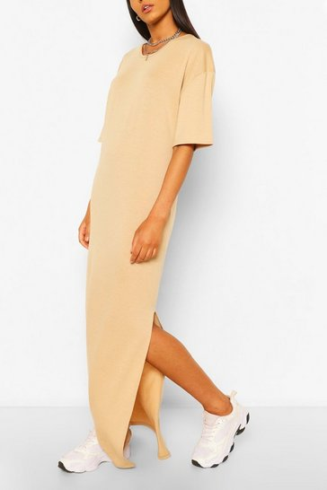 Taupe beige Tall Scoop Neck Maxi T-Shirt Dress