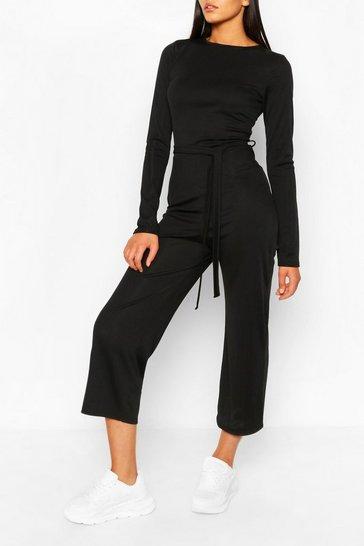 Black Tall Rib Tie Waist Culotte Jumpsuit