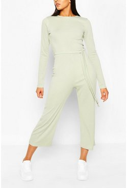 Mint green Tall Rib Tie Waist Culotte Jumpsuit