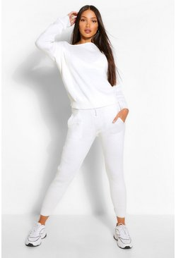 Ivory Tall Slash Neck Knitted Lounge Set