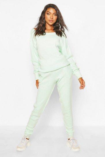 Mint green Tall Slash Neck Knitted Loungewear Set