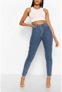 Mid blue Tall Denim Button Detail Straight Leg Jeans