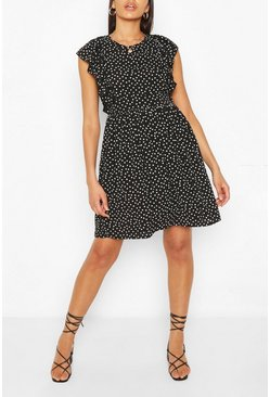 Black Tall Woven Polka Dot Print Smock Dress