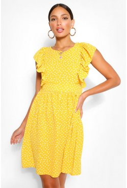 Yellow Tall Woven Polka Dot Print Smock Dress
