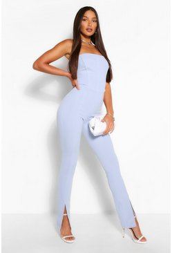 Blue Tall Corset Detail Bandeau Split Leg Jumpsuit