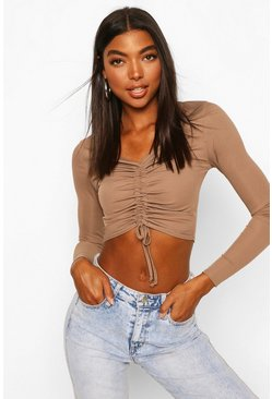 Mocha beige Tall - Basic Ribbad crop top med rysch