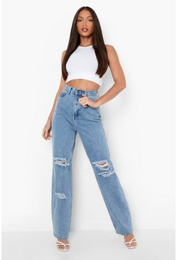 Blue blå Tall Denim Acid Wash Boyfriend Jeans